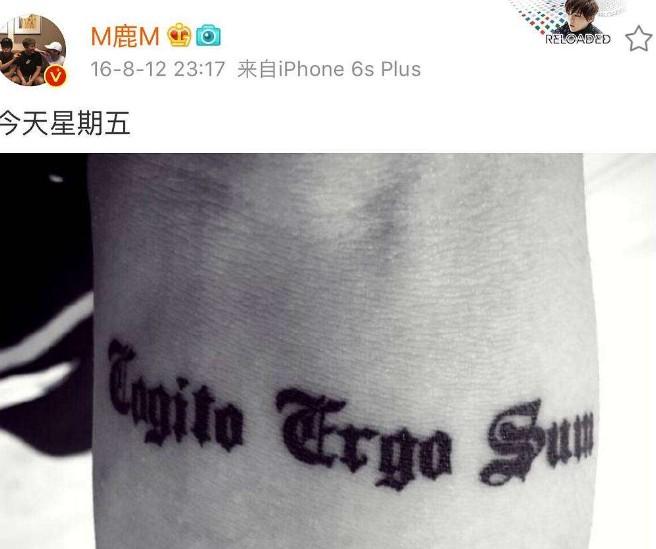鹿晗手臂上的纹身是怎么回事 他的纹身有什么含义
